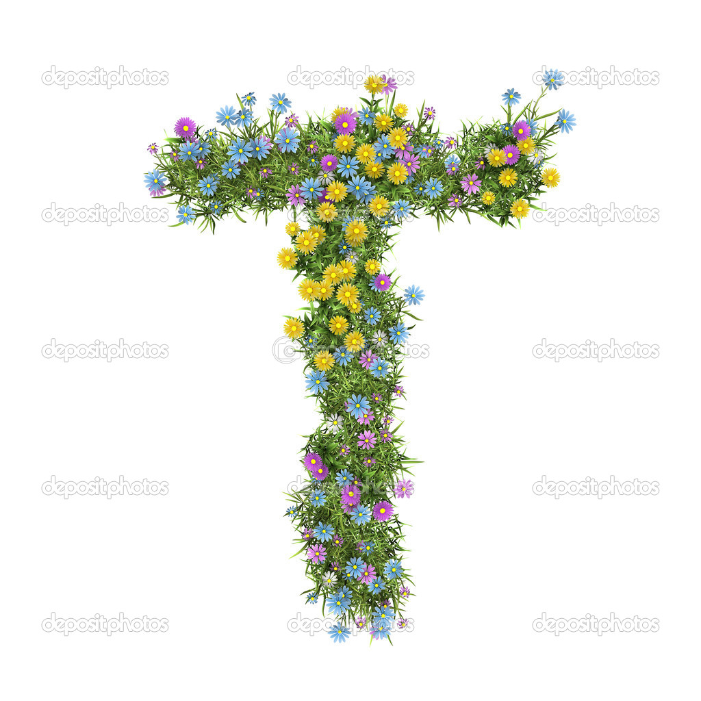 Letter T, flower alphabet isolated on white