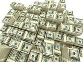Money stack. piles of cash