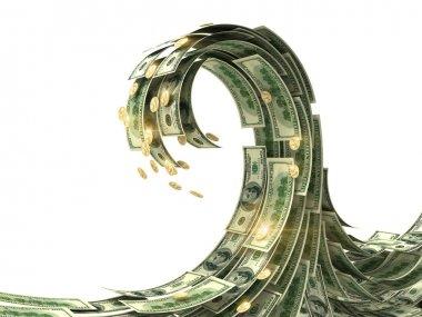 Dollars wave isolated on white