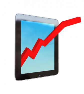 Tablet Computer with growth progress red