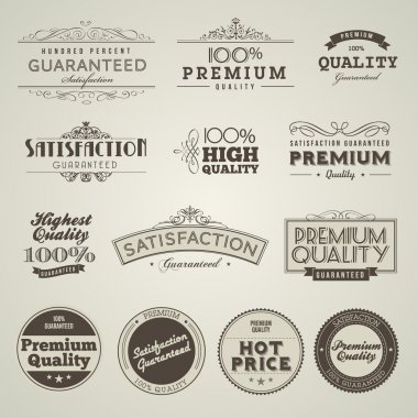 Set of vintage styled premium quality labels clip art vector