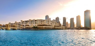 Dubai downtown panorama at sunset, UAE