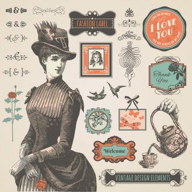 Set of vintage labels and elements for label, print material and web clip art vector