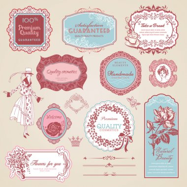 Collection of vintage labels and elements