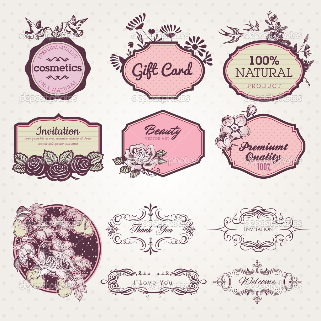 Set of labels and elements
