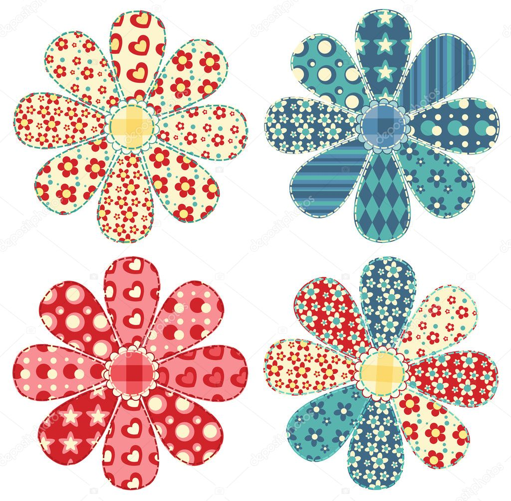 Set of four quilt flower