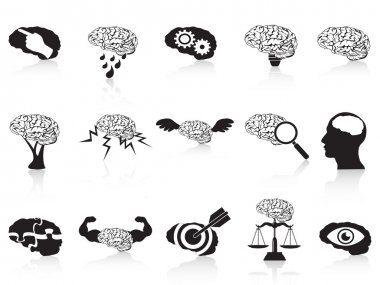 Brain conceptual icons set