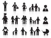 Fotografie schwarz glücklich Familie Icons set