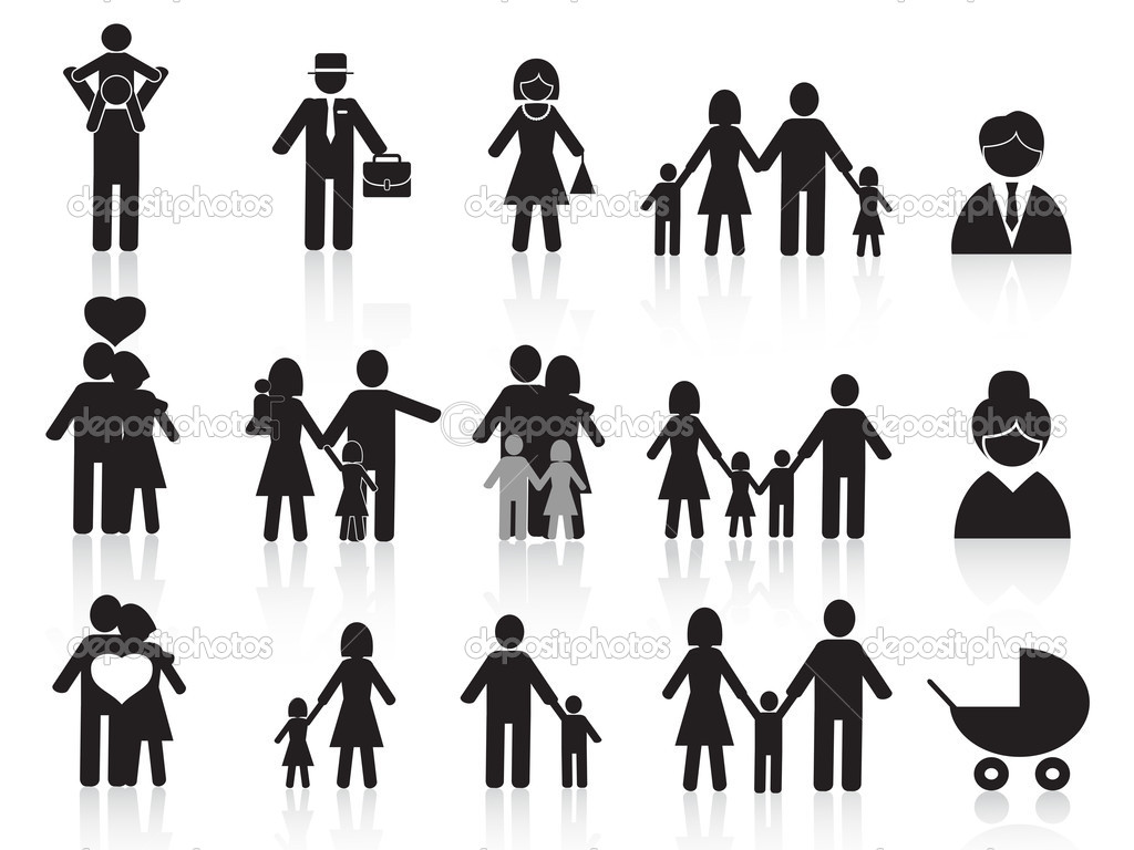 Set of black happy family icons for design stock vector