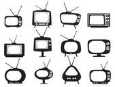 Photo Black retro tv icons set