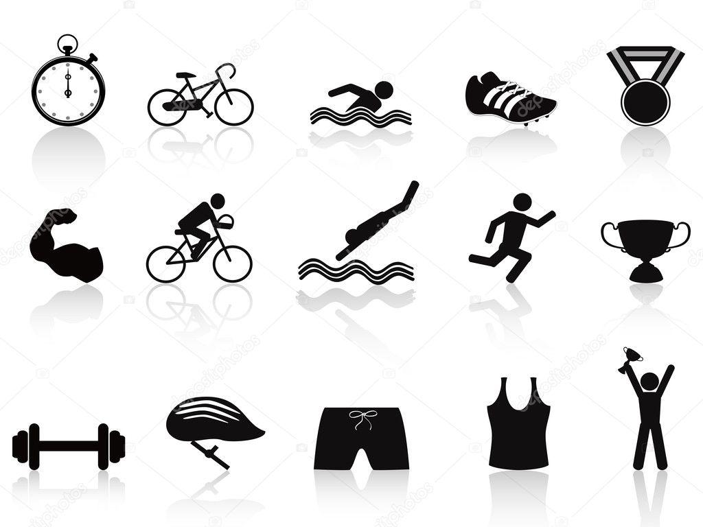Triathlon sport icon set
