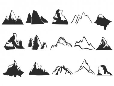 Isolated mountain icons set on white background stock vector