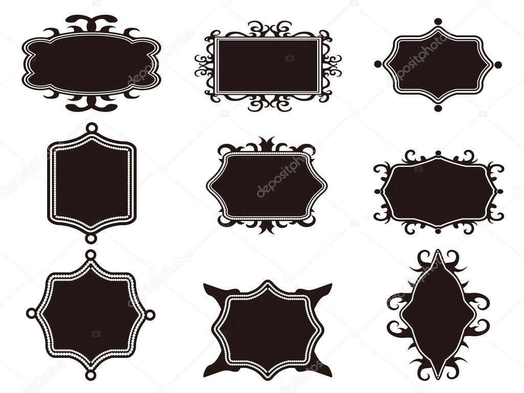 conjunto de marco retro negro — Vector de stock © huhulin #8751023