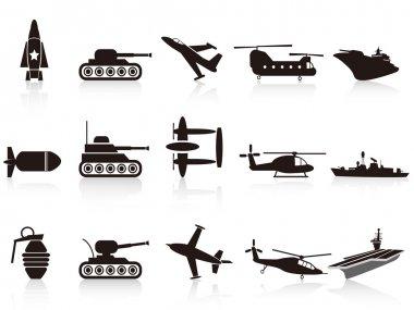 Black war weapon icons set