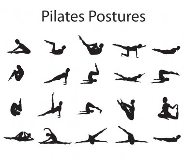 20 Pilates or Yoga Postures Positions Illustration