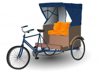 Asian Rickshaw Pulled by Bicycle Illustration