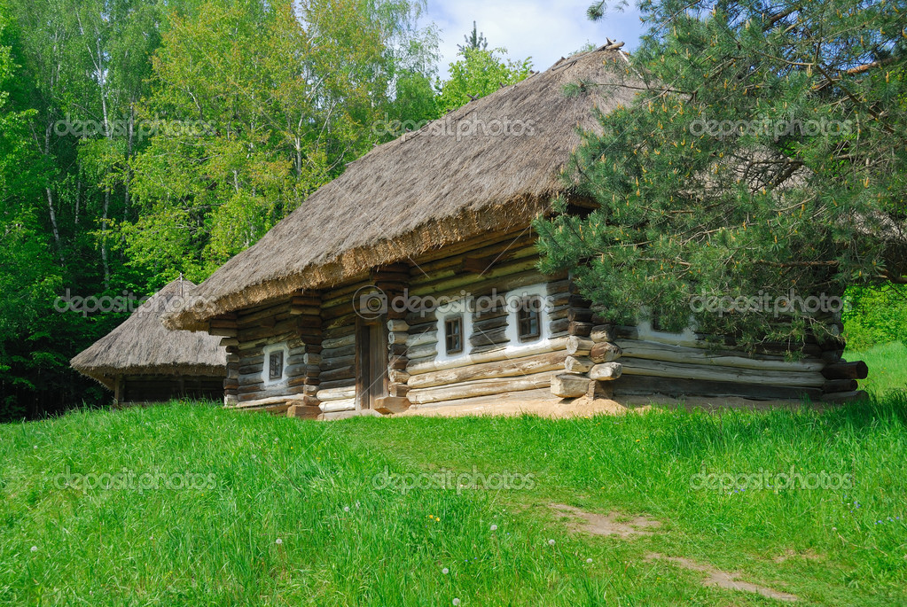 Ancient traditional ukrainian house with a straw roof, Pirogovo Folk Museum, Kiev