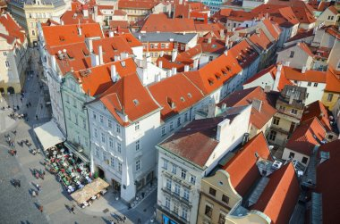 Old town roofs birds eyes view, Prague