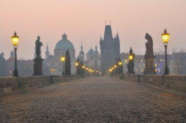 Charles Bridge in Prague during the sunrise, Czech Republic.