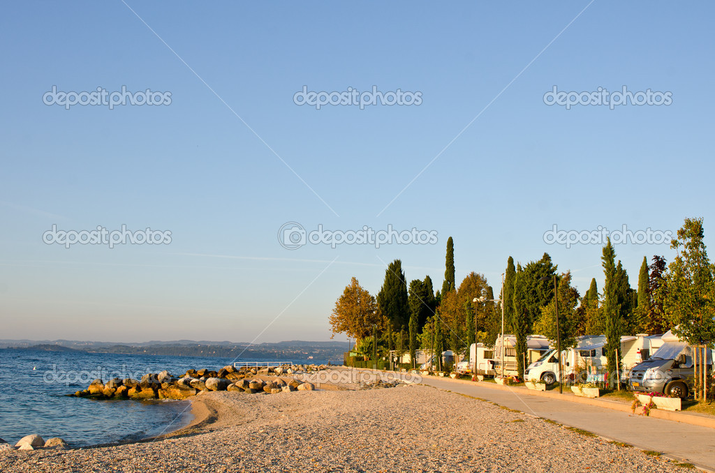 Motorhomes campsite at Garda Lake coastline