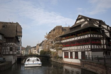 River with Traditional Half-Timbered Houses at the both banks, France