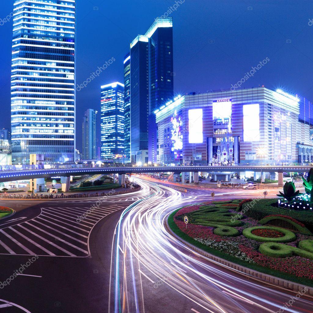 Фотообои Night of modern city in shanghai