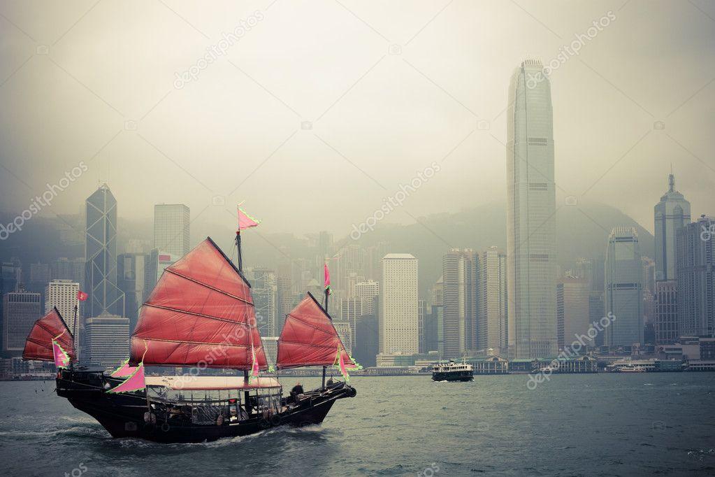 Chinese style sailboat in Hong Kong