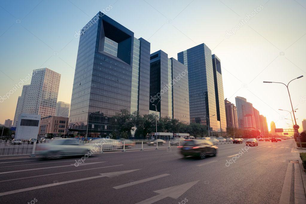 Modern city street at dusk
