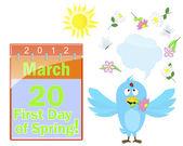 primo giorno di primavera. calendario e blue bird.