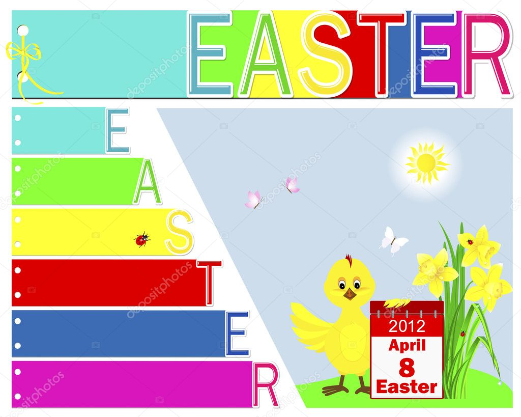 Easter booklet with yellow ribbon and bow.