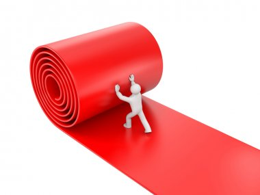 3d person rolling red carpet on white background