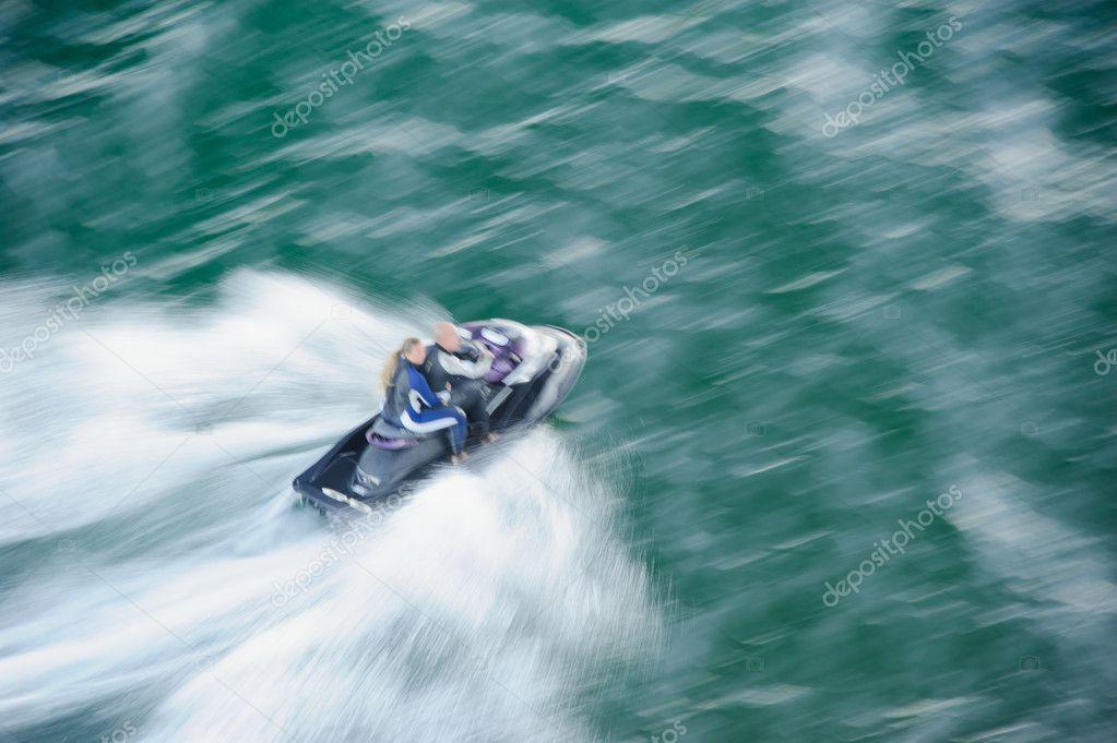 Riding on jet ski