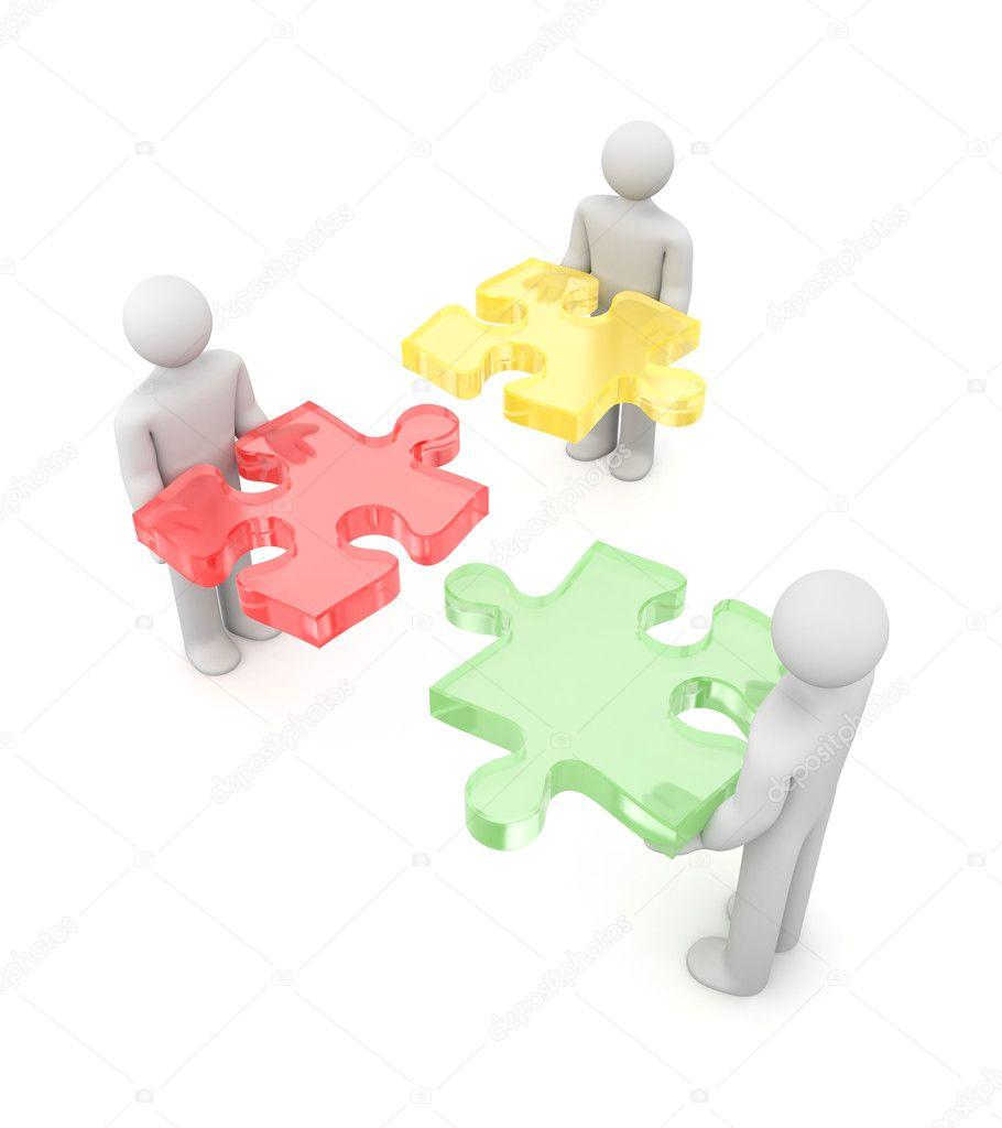 3D Puzzle. Partnerschaft Metapher U2014 Stockfoto
