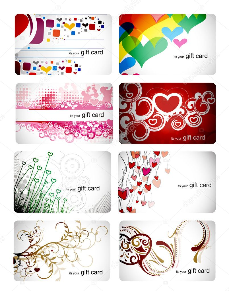 Set of beautiful gift card
