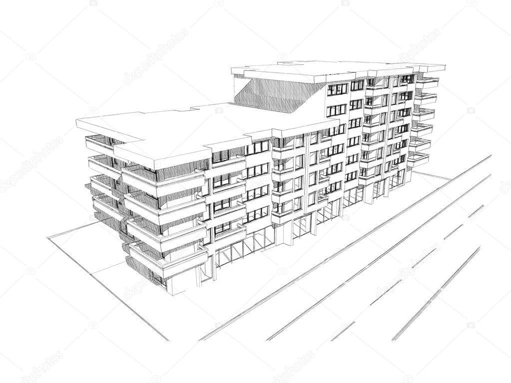 Myslenka Skica Kresba Budovy Stock Fotografie C Pajche 9900216