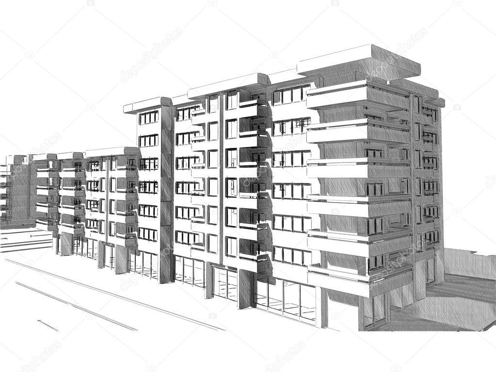 Schets van idee tekening van gebouw stockfoto pajche for Residential building drawings download