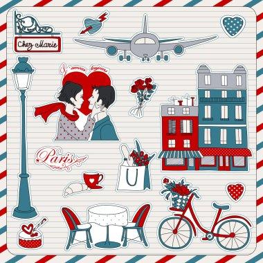 Paris travel icons