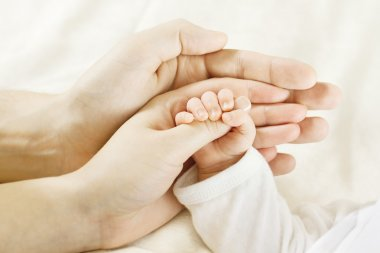 Family, baby hand inside parents hands