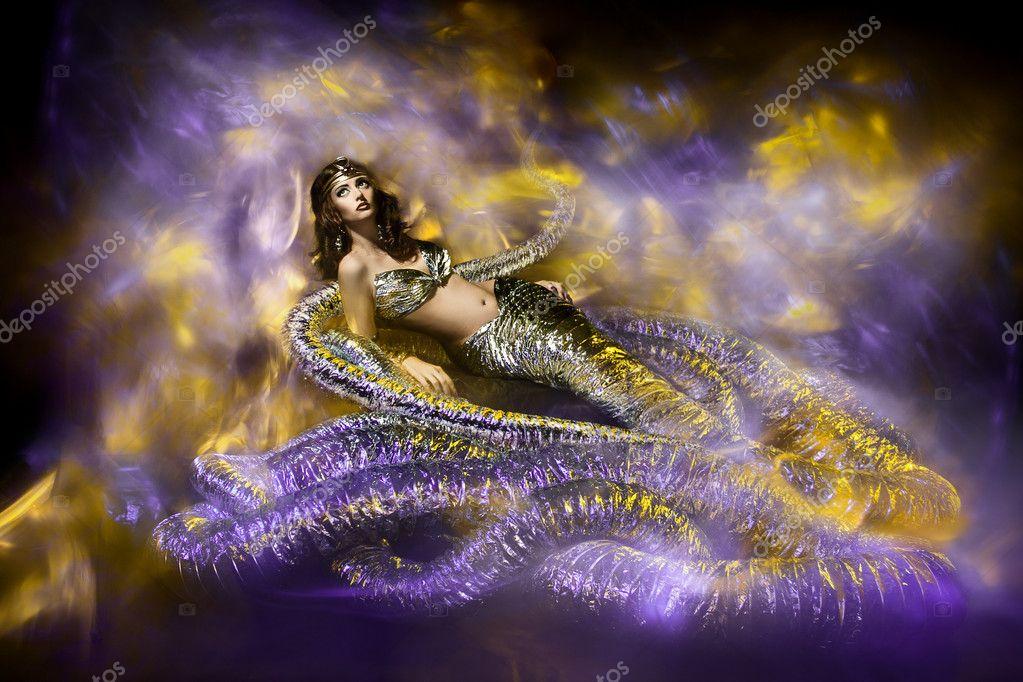 Fantasy Woman In Snake Fashion Dress Stylish Artwork