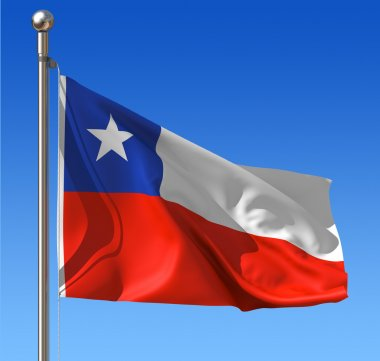 Flag of Chile against blue sky.