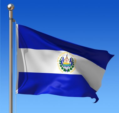 Flag of El Salvador against blue sky.