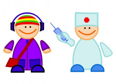 Doctor with vaccine and guy