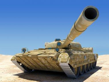 Army tank in desert, 3d image. stock vector