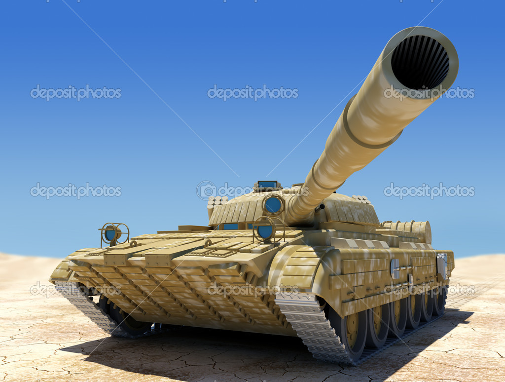 Army tank in desert, 3d image. stock vector