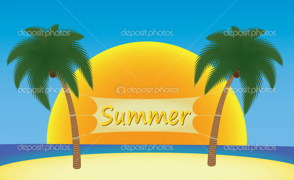 Summer banner hanging on palm trees