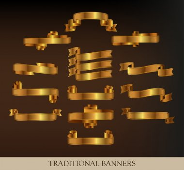 Collections of Gold Vector Ribbons