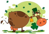 Fotografie Cow Under Clovers, Wearing A Hat And Chewing On A Shamrock