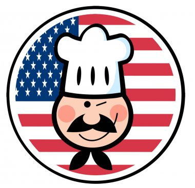 Winking Chef Face Over An American Flag Circle
