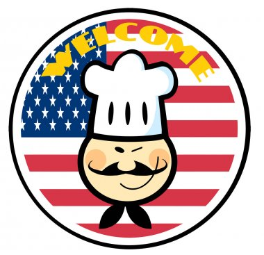 Asian Chef Face Over An American Flag
