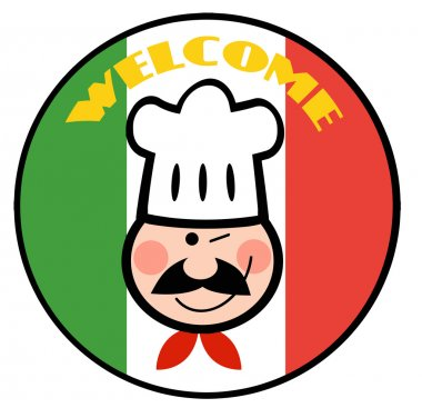 Chef Face Over A Welcome Italian Flag Circle